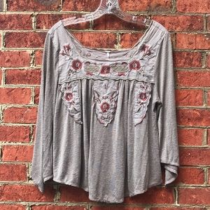 Embroidered Free People Long Sleeve Blouse